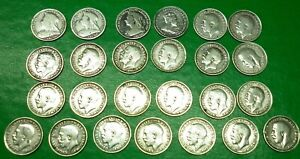 25 Sterling silver 3d coins. 1895  to 1919 Threepence- Better Grades