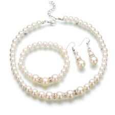 Pretty Little Girls Cream Faux Pearl Necklace, Bracelet and Earring Set