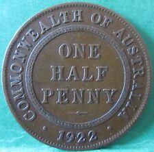 1922 Australia 1/2d HalfPenny ** ERROR LARGE DIE CRACK ** #XM01