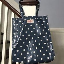 Cath Kidston White Blue Polka Dot Shopping Tote Bag Oilcloth Coated Cotton