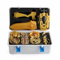 12PC Portable Box Beyblade Gold Burst Set Spinning +Grip Launcher Case Kids Toy