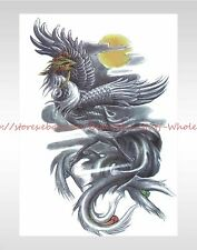 "US SELLER-black phoenix large 8.25"" temporary arm tattoo face decor stickers"