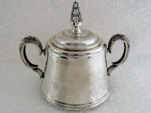 Vintage USSR Russian Kharkov Jeweler Factory Art Deco Sterling Silver Sugar Bowl
