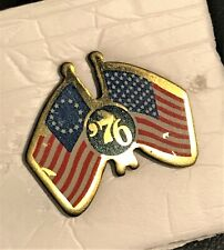 Vintage Bicentennial '76 Flags Lapel Pin Post Back Tack 1776-1976 Collectible