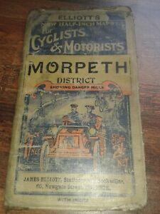 RARE c1901 BACON's ELLIOTTS BOOKSELLER HALF INCH MAP CYCLISTS MOTORISTS MORPETH
