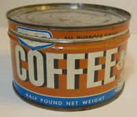 Tiny Vtg 1950s COOP COFFEE KEYWIND COFFEE TIN 1/2 POUND QUEBEC MONTREAL CANADA