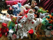 LOT OF RETIRED TY BEANIE BABIES - PEACE/VALENTINO/STINKY/GOBBLES AND MORE!!