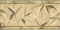 Asian Oriental Theme Bamboo Leaf Leaves Tropical Beige Wallpaper Border