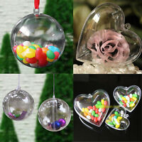 5x Christmas Tree Decoration Clear Plastic Balls Heart Open Bauble Ornament US
