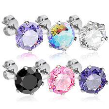 PAIR 316L Surgical Steel CZ Gem Stud Earrings, choose color and gem size