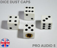 White Dice Valve Dust Caps - Universal Car Van Truck - UK