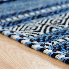 Oriental Weavers Kelim Rug Runner Cushion Hand Woven Cotton & Chenille Blue 70 X 140 Cm