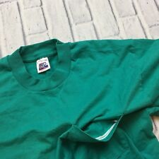 90s VTG BVD SELVEDGE POCKET T Shirt Turquoise L SINGLE STITCH Made USA Blank