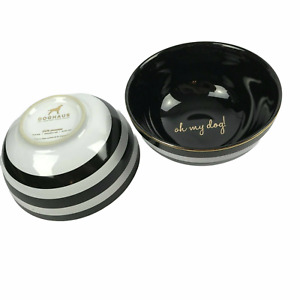 Dog Lover Gift: Dog Cat Food Water Bowls Doghaus Oh my dog! Stoneware Set Black