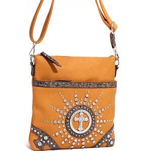 Women's Western Rhinestone Studded Messenger Bag w/ Croco Trim & Cross - Mustard
