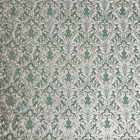 Wallpaper floral Victorian Vintage damask Royal green brass metallic Textured 3D