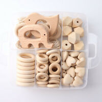 Elephant Wooden Heart Teether Round Beads DIY Kit Baby Necklace Teething Jewelry