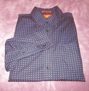 JOE FRESH Size L SHIRT Button-Down DARK BLUE Long-Sleeves SLIM FIT 100% Cotton