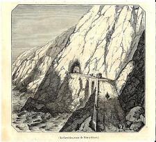 Stampa antica VENTIMIGLIA STRADA della CORNICE tunnel Liguria 1847Old print