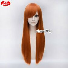 Orange 70CM Long Women Party Synthetic Hair Cosplay Lolita Straight Wig+Wig Cap
