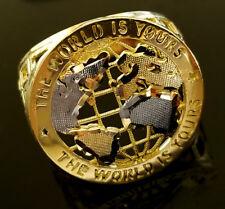 10K Yellow Gold Men's World Map Ring Globe Ring