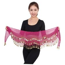3 Rows 128 Gold Coins Belly Dance Costume Hip Scarf Skirt Belt Wrap Waist EC Rose Red