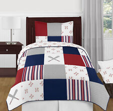 Baseball Sports Red White Blue Boy Twin Kid Childrens Bedding Set by Sweet Jojo