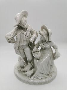Große weiße Porzellanfigur - Volkstedt - Paar mit Hühnern