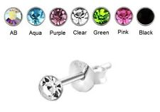 Crystal Stud Earrings - 925 SILVER - 1.5mm 2mm 3mm 4mm 5mm 6mm - Single or Pair