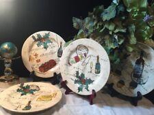 Williams-Sonoma Lot Of 4 Christmas Motif Salad Plates - Dessert Wine Holly, Mint