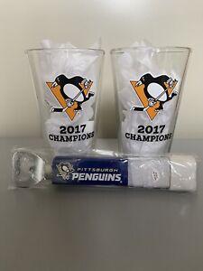 """Pittsburgh Penguins Labatt Blue Pint Glasses and """"Hockey Stick"""" Bottle Opener"""