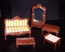 Vintage ? Lot 5 Pieces Dollhouse Furniture Sofa Mirror Table Bench Striped Plast