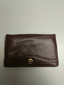 Etienne Aigner Brown Leather Card And Change Holder