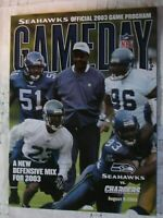 SEATTLE SEAHAWKS Game Day Program 2003 vs Chargers NFL Football Ray Rhodes AFC