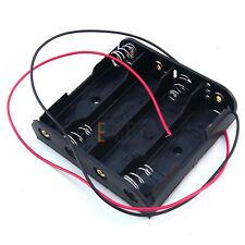 1 X PC CASE della batteria in plastica nera titolare Wire 4 x 1.5 V AA UK STOCK FREEPOST