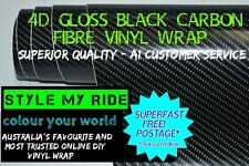 50cm x 1.52M 4D Gloss Black Carbon Fibre Fiber Vinyl Car Wrap Air Release Film