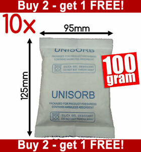 10x100gm Reusable Silica Gel Packets Desiccant Moisture Absorber Packs Dessicant