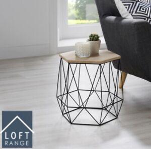 New Elegant Loft Range Hexagon Wire Side Table Wood Top Coffee Side Table