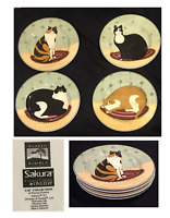 "Vintage SAKURA by Oneida Stoneware 8.25"" Plates CAT COLLECTION 4-Piece Set 2001"