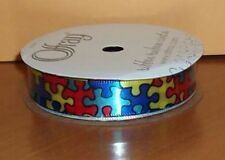 "Autism Awareness Jigsaw Puzzle Pieces Bright Color Ribbon 5/8"" Satin 12 Feet NEW"