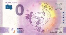 Souvenir ticket 0 euro banknote anniversary dodo-mauritius mauritius