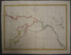 NORTHWESTERN AMERICA NORTHEASTERN ASIA 1797 LA PÉROUSE UNUSUAL ANTIQUE SEA CHART