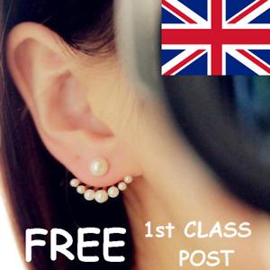 FAUX PEARL DUAL USE SINGLE PEARL MULTI PEARL DOUBLE SIDED EARRINGS