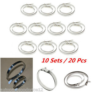 10 Sets Stainless Steel Universal Drive Shaft Axle CV Joint Boot Clamps Kit New