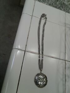 Lois Hill Sterling Silver Large Circle Disc Multi Strand Necklace