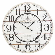 60cm Extra Large Round Wooden Wall Clock Vintage Retro Antique Distressed 49 Bond Street