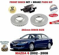 FOR MAZDA 6 2.0i 2.0D 2.3 2002-2008 NEW FRONT BRAKE DISCS SET + DISC PADS KIT