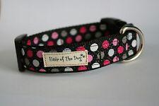 Pink,Grey and White Polka Dots DoG Collar- Medium