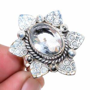 White Topaz Gemstone 925 Sterling Silver Jewelry Ring s.9 M1433