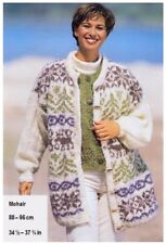 Ladies' Mohair Christmas Reindeer Jacket Vintage Knitting Pattern 10146